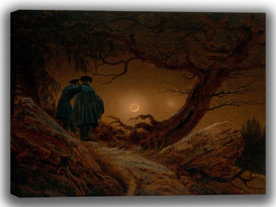 Friedrich, Caspar David: Two Men Contemplating the Moon. Fine Art Canvas. Sizes: A4/A3/A2/A1 (003910)